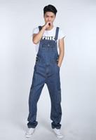 moda bib macacões para os homens venda por atacado-Moda Casual Mens Denim Macacões Macacão novo macho à moda Calças Jeans Macacões Bib para homens