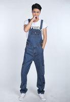 ingrosso nuovi pantaloni alla moda-Tuta da uomo di moda casual denim tuta nuovo maschio elegante jeans tute pantaloni bavaglino per gli uomini