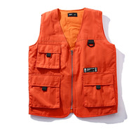 Wholesale Quality Tooling - 17SS Men Vest Won't GET FOOLED AGAIN Printed Orange Black Vests High Quality Fashion Outerwear Men Women Couple Tooling Vest HFXYMJ001