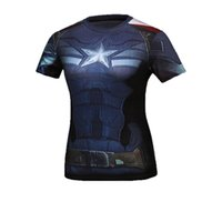 Großhandels-Frauen Shirts Kurzarm Sport Superman Captain America Quick Dry Jogging Fitness Under Turnhallen-T-Shirt Frauen-Bekleidung Tops