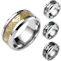 yeni süpermarket yüzüğü toptan satış-Moda 4 renkler Superman Paslanmaz çelik Yüzük Erkekler için efendisi Düğün Titanyum yüzük Band yeni punk yüzük takı