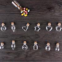 Wholesale Bottle Cork Art - Wholesale- Mini Wood Cork Glass Bottles With Rope Arts Jars Bracelets Gifts Pendants Drift Bottle Perfume Sand Vials Mixed Shapes