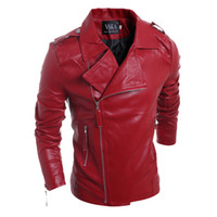 Wholesale Korean Brand Leather Jacket - Mens Motorcycle Suede Jacket Solid Style Red Black white Faux Leather Jackets Men Korean Slim Fit Male Brand Punk Man Coat