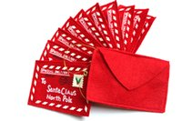 вешалки оптовых-cker Счастливого Рождества красное письмо Санта-Клауса дерево стоять висит 4.7x3.1 дюйм(12x8cm) мешок конфет подарок партии декор (пакет из 5)
