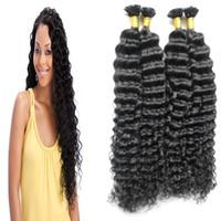 Wholesale Curly Fusion Extensions - Mongolian kinky curly hair 200g Keratin Human Fusion Hair Nail U Tip 100% Remy Human Hair Extensions