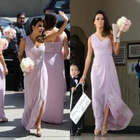 Wholesale Eva Longoria Ivory Dress - One Shoulder Lavender Long Bridesmaid Dresses 2017 Eva Longoria Floor Length Chiffon Split Pleats Long Wedding Party Dresses