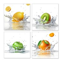 Wholesale Kitchen Fruit Wall Decor - Wall Art Canvas Paintings Fruits Modern Home Picture 4 Panel Dropship Print Home Decor Wall Hangings For Living Room Kitchen Hotel No Frame