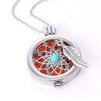 Wholesale Imitation Coin Pendants Wholesale - Aromatherapy Jewelry Necklace Vintage My DIY Coins Angle Wing Locket Pendant Essential Oil Diffuser Necklace 2016 New Arrival