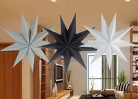 Wholesale star white paper resale online - 30cm cm cm Nine Angles Paper Star Decoration Tissue Paper Star Lantern Hanging Stars For Christmas Party Decoration