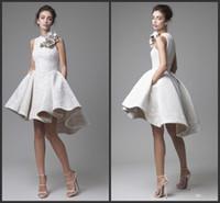 vestidos de noche de fiesta de encaje al por mayor-2016 de encaje blanco corto vestidos de cóctel Juniors noche desgaste elegante barato Hi Low Party vestidos de baile