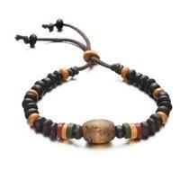 Wholesale Pottery Bracelets - Jewelry fashion Men's ceramic Beaded Bracelet weaving firing pottery bead retro clay handmade jewelry push pull adjustment Bracelet Wholesal