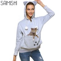 Wholesale Hoodies Ears For Women - Wholesale- Cat Lovers Hoodie Sweatshirts With Cuddle Pouch Dog Pet Hoodies For Casual Kangaroo Pullovers With Ears Embroidery