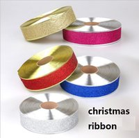 Wholesale santa claus glitter - 5 CM K1285 Santa Claus Party Glitter Ribbon as Bow Christmas gift Ornament New Year Party Christmas decoration supplies