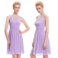 lila wulst kurze prom kleider großhandel-Kurze lila Prom Kleider 2019 neueste knielangen Chiffon Perlen Party Kleid Prinzessin Prom Kleider für besondere Anlässe nach Maß