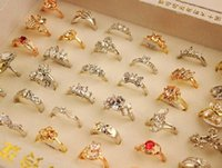 Wholesale Gold Plated Rings Mix - 20 PCS 100 Styles Plated 18K Gold Color Retention Ring Zircon Jewelry Boutique Fashion Women Wedding Jewelry Ring Finge Rings Mixed Size