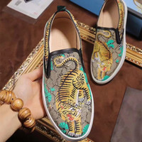 Wholesale G Drives - 2017 Brand Genuine Leather Flat Shoes For Men Tiger Snake Printed G G Loafers Male Fashion Driving Shoes Slip On Italy Casual Moccasins F52