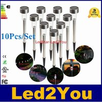 Wholesale Solar Lighted Garden Stakes - Wholesale 60pcs Waterproof Outdoor Solar Power Lawn Lamps LED Spot Light Garden Path Walkway Stainles Steel Stake Spotlight luminaria