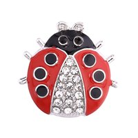 Wholesale Metal Ladybug - Hot wholesale 12pcs Cute Animal Ladybug 18mm Metal Snap Button Charm Button Ginger Snaps Jewelry