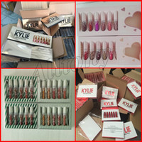 Wholesale Nude Lipgloss - Kylie Jenner Birthday Limited gold Edition i want it all lipsticks Matte velvet 6pcs kylie send me more nudes valentine lipgloss kit