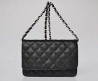 Wholesale Ivory Black Satin Evening Bag - 33814 WOC Caviar Leather Mini Flap Shoulder Bag Women Single Chain Cowhide Messenger Bag Evening Bag 20CM 33814