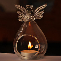 Wholesale Glass Tea Light Candle Holder - Romantic Angel Crystal Glass Candle Holder Hanging Tea Light Lantern Candlestick Burner Vase DIY Home Wedding Party Decoration