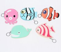 Wholesale Korean Fish Bag - 2017 Korean Children Change Purse Creative Cute Fish Kids key pack octopus clownfish Whale Girls Mini Bag C2112
