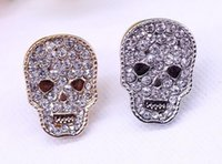 Wholesale Studs For Shirts - Wholesale 12 Pcs Unisex Brooches Gothic Punk Skull Head Rhinestone Shirt Collar Stud Brooch Accessory For Gitft