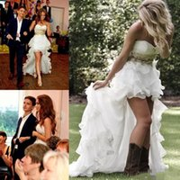 Wholesale Romantic Wedding Dresses Vintage Style - 2017 Gorgeous Romantic Country Style High Low Wedding Dresses Strapless Beaded Crystals Tiers Ruffles Skirt Appliques Backless Bridal Gowns