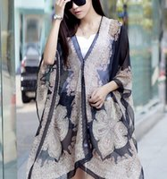 Wholesale Womens Ponchoes - 14 colors 2016 Paisley Printed Button Scarfs Velvet Chiffon Beach Sun-Protective Clothing Womens Summer Pashmina Wrap