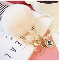 Wholesale Car Key Holder Good - Keyring Key Ring 2016 New Really Good Quality Rabbit Hair Ball Pearl Phone   Car   Bag Pendant SS0006