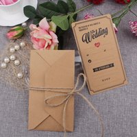 Wholesale Wholesale Invitation Paper Supplies - 50Pcs Brown Elegant Wedding Invitation Cards Kraft Paper Greeting Cards 18X 10Cm Post Card With Envelopes Event Party Supplies