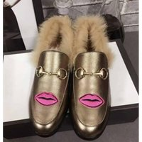Wholesale Winter Slippers For Men - 2017Gg Fashion Luxury Loafer Shoes for Men BIRKENSTOCK Slipper Princetown Pelle Agnello Hot Sale Woll Embroid Flower Applique Casual Fur