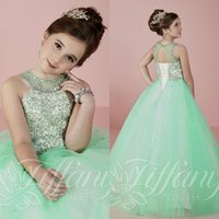 Wholesale Beautiful Prom Dresses Ball Gown - 2016 Beautiful Mint Green Girls Pageant Dresses with Beading Rhinestone Halter Tulle Floor Length Kids Ball Gown Prom Dresses