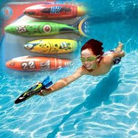 Wholesale Big Purchase - 2016 New 4 Colors Underwater Torpedo Rocket Swimming Pool Toy Summber Water Toys Swim Dive Torpedo Throwing Toys Best Gifts For Children