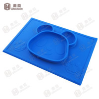 Wholesale Kids Dinner Plate Set - Table placemats Square Panda Shape Silicone Placemat for Kids High Quality Children Dinner plates set baby Silicone placemat -F023