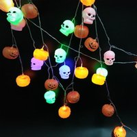 Wholesale Wholesale Decorative Night Lights - Halloween Pumpkin Chandelier with LED String Lights Masquerade Terror LED Night Decorative Lights Halloween outfit Cosplay Parties
