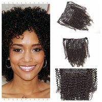 Wholesale human hair clips 1b for sale - Group buy Peruvian Clip in Human Hair Extensions Peruvian afro kinky curly Human Hair Clip Extensions black color b G EASY Hair Products