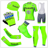 Wholesale Saxo Bank Leg - 2016 New Tour De France Cycling Jerseys Tinkoff Saxo Bank Green Fluo Bike Wear Arms Legs head Scarf Gloves Shoes Covers Short Sleeve