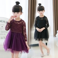 Wholesale Korea Girl Cute Children - 2017 autumn spring girls lace tulle dress fashion elegant children party dresses cute Korea brand kids dress 2-7y girl clothing