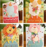 sevimli kart tasarımları toptan satış-12 adet Mix Tasarımlar Sevimli Hayvanlar Çocuklar Doğum Günü Tebrik Kartı Ile Küçük Zarf, Bebek Duş Noel Kartları