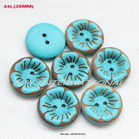 Wholesale Hat Scarf Button - (90pcs lot) fashion wooden buttons for women hat bag dress accessories scarfs crafts buttons 28mm- BY0191A1