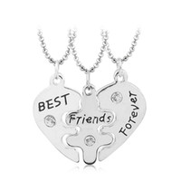 Wholesale Wholesales Best Friends Necklaces - Lovers' Collier Bff Statement Necklace 3 pcs Best Friends Forever Necklaces Colar Friendship Heart Charm Pendent Gift for Girls 0903215