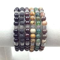 Wholesale SN0619 Man Yoga Bracelet mm lava jasper india agate onyx garnet Nutural Stone Bracelet Luck Jewelry Wellbeing Balance Bracelet