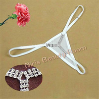 Wholesale G String Diamonds - Sexy mini Micro Thongs and G-Strings Women Rhinestone Diamond panties low waist V-string Y strings erotic Lingerie Underwear t back tangas