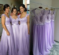 Wholesale Off White Chiffon Beach Wedding - Hot Selling Purple Lilac Lavender Bridesmaid Dresses Lace Chiffon Maid of Honor Beach Wedding Party Dresses Plus SIZE Evening Dresses
