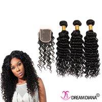 Wholesale Cheap Deep Curl Closure - Cheap Brazilian Hair Bundles Deep Curly With Closure No Shed No Tangle Brazilian Natural Wave 8-30 Inch Brazilian Deep Curl With Closure