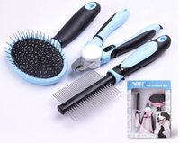Wholesale Dog Nail Clippers Combs - Pet Comb Set Dog clean for Open Knot Beauty Pet Combs+Nail Clippers Grinder For dog supplies