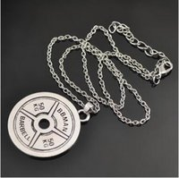 Wholesale Silver Chain Weights - Hot sale 12Pcs lot Vintage Tibetan Silver Disc 50KG BBMAN BARBELL Weight Fitness Pendant Charms Tone Necklace