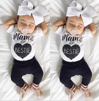Wholesale Toddler Cotton Tshirts - 2017 Boys Girls Baby Childrens Clothing Sets mama is my bestie tshirts Pants 2Pcs Set Cute Toddler Home Pajamas Boutique Clothes Outfits