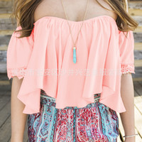 Wholesale Ruffle Tops Blouses - Wholesale- White Black Low Back Peasant Blouse Crop Top Off The Shoulder Ruffled
